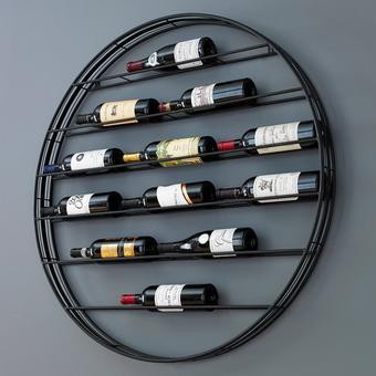 12 Bottle Label View Wall Wine Rack   Wrought-Iron Frame With Gunmetal Finish