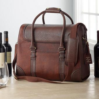 6 Bottle Leather Weekender Wine Bag | Personalization Available | Handcrafted 100% Leather