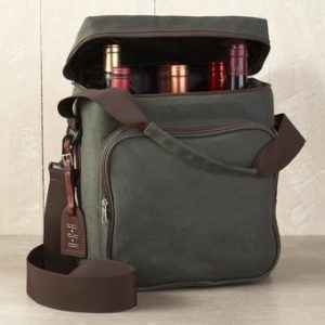"""6 Bottle Waxed Canvas Weekend Wine Bag 