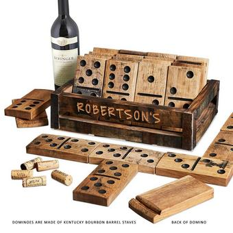 Authentic Kentucky Bourbon Barrel Giant Domino Set with Personalized Crate