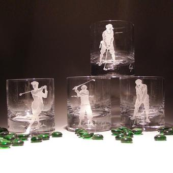 Etched Golf Whiskey Glasses (Set of 4)