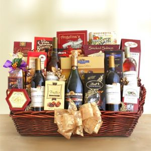 Gourmet Deluxe Celebration Wine Pairing Basket Graduation Gifts for