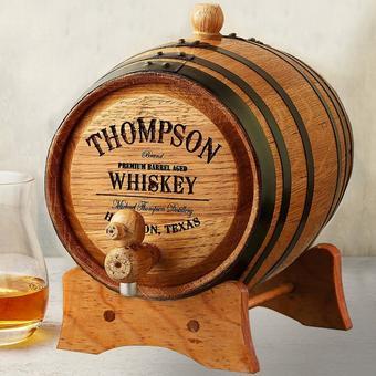 Personalized Mini Oak Whiskey Barrel | 1 Liter Barrel | Wooden Stand Included