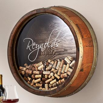 Personalized Reclaimed Wine Barrel Head Cork Collectors Display (Name and Year)
