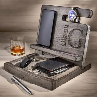 Personalized Reclaimed Wine Barrel Mens Deluxe Valet (Gray Finish)