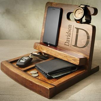 Personalized Reclaimed Wine Barrel Mens Deluxe Valet