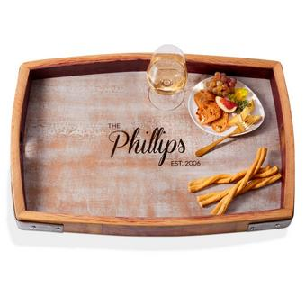 Personalized Whitewashed Barrel Head Serving Tray With Name and Year