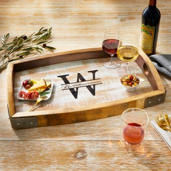 Personalized Whitewashed Barrel Head Serving Tray