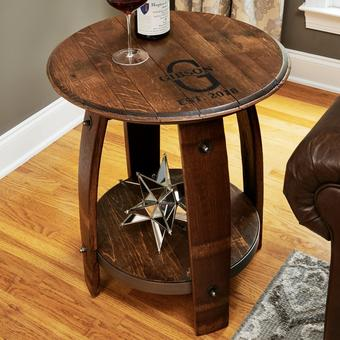 Personalized Wine Barrel End Table