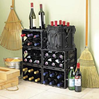 "Storvino Nero Wine Black Storage Container | Holds 6 Bottles | Made From 100% Recycled Materials | 10 1/4"" H X 11 3/4"" W X 8"" D"