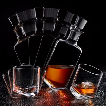 Whiskey Rocks 3-Piece Rocking Decanter and Glassware Set