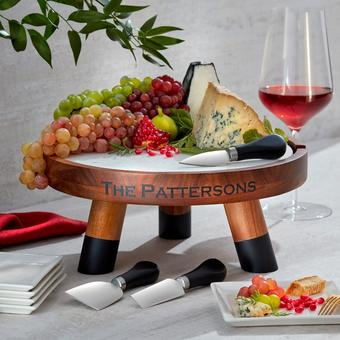 White Marble and Solid Acacia Wood Raised Cheese Board With 3 Cheese Knives (5 Piece Set)
