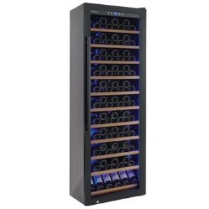 Wine Enthusiast Classic 200 Wine Cellar | 200-Bottle | UV-Protected Glass Door | Blue LED Side Lighting | Sliding Shelves | Quick & Effective Cooling
