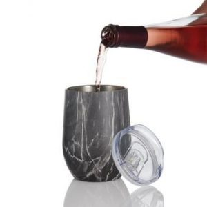 Wine Enthusiast Insulated Stainless Steel Black Marble Wine Tumbler