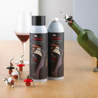 Wine Enthusiast Private Preserve Wine Preservation Set (2 Cans & 6 Bottle Stoppers)