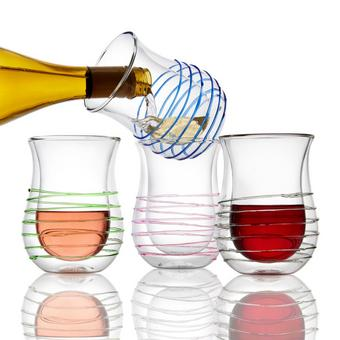 Wine Enthusiast Spiral Design Double-Wall Flared Tumblers (Set of 4)