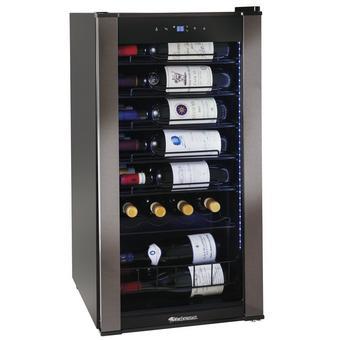 Wine Enthusiast VinoView 28 Bottle Wine Cellar | UV-Protected Double Pane Glass Door | Black Glass Exterior Door | Black Stainless Steel Trim