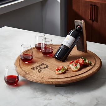 Barrelhead Charcuterie and Wine Serving Board with Stemless Glasses