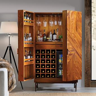 Cheverny Metal Inlay Bar Cabinet with Cooling Storage Option