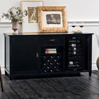 Firenze Wine and Spirits Credenza with Cooling Storage Option (Nero)